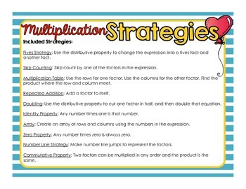 Multiplication Strategies For Interactive Notebooks or Math Journals