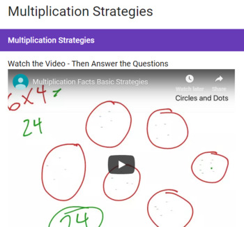 Multiplication Strategies Google Form
