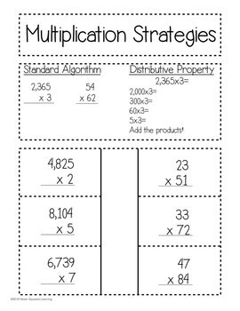 Multiplication Strategies Interactive Notebook Activity Quick Check TEKS 4.4D