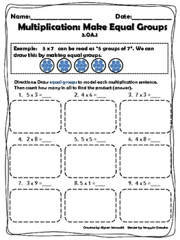 multiplication strategies make equal groups worksheet  tpt