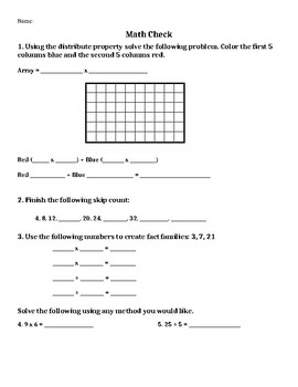 Multiplication Strategies Math Check