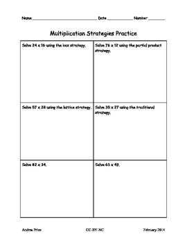 Multiplication Strategies Model