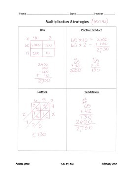 Multiplication Strategies Model