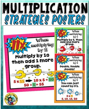 Multiplication Strategies and Tricks Charts Superhero Theme