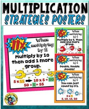 Multiplication Strategies and Tricks Charts Superhero Theme