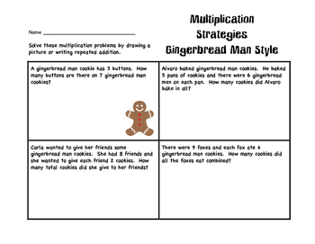 Multiplication Strategies for Gingerbread Man Word Problems