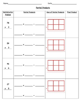 Common-Core Aligned Multiplication Using Partial Products & Area Models