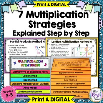 Multiplication Strategy Posters & Slideshow with Interactive Notebook Flaps