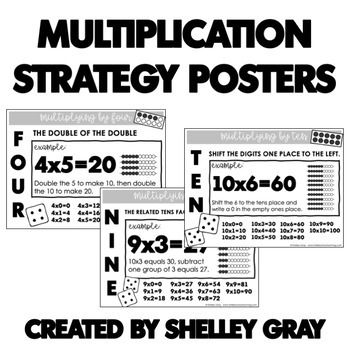 Multiplication Strategy Posters for Basic Multiplication Facts to 10x10