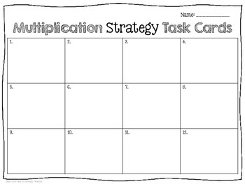 Multiplication Strategy Task Cards