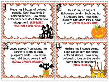 Multiplication Strategy Task Cards for Third Grade {Halloween Themed}