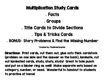 Multiplication Study Flash Cards