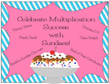 Multiplication Sundae~ Quizzes, Flashcards, Certificates, Sundae Cut-out
