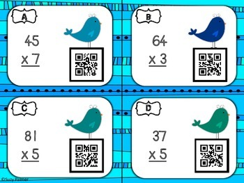 Multiplication Sweet Birds Task Card Bundle