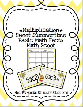 *Multiplication* Sweet Summertime Basic Math Fact Math Scoot