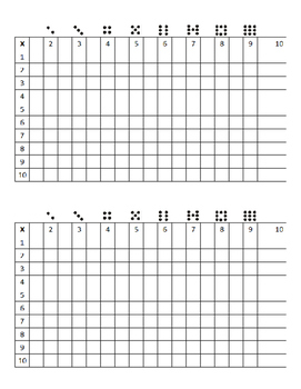 Multiplication T-Chart Practice
