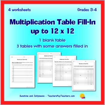 Multiplication Table 12 x 12 grid - 2 worksheets - 3rd & 4th Grades & Review