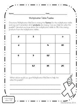 Multiplication Table Puzzles