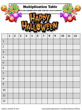 Multiplication Table Seasonal Templates