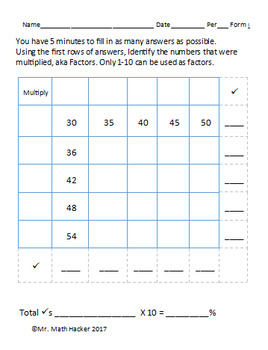 10 Multiplication Table Warm Ups Factors 1-10