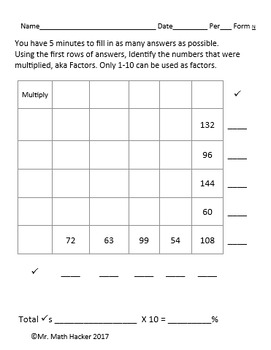 15 Multiplication Table Warm Ups Factors 1 - 12