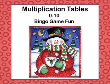 Multiplication Tables 0-10 -Bingo Game-Merry Christmas