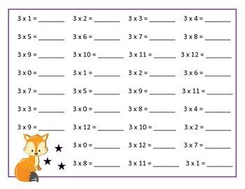 Multiplication Tables 1 - 12 Worksheets - Woodland Theme