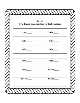Multiplication Tables 1-4-Beach Theme