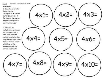 Multiplication Tables: 2 Through 6  A Caterpillar Lift Flap Activity