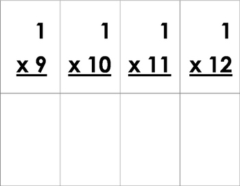 Multiplication Tables Flash Cards