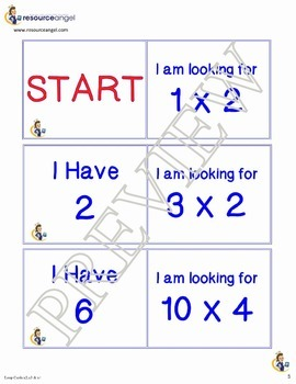 Multiplication Times Tables Loop Cards