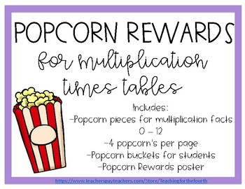 Multiplication Tables Popcorn Rewards
