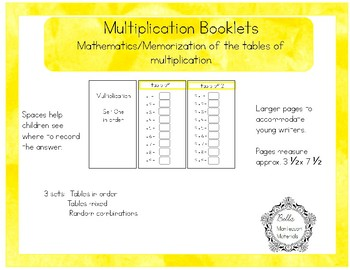 Multiplication Tables of Combinations Booklets  - Large Size - Montessori Math