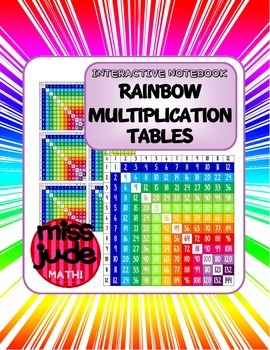 FREE Multiplication Tables [rainbow color, 3 sizes, for interactive notebooks]