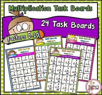 Multiplication Task Boards for Factors 0-10