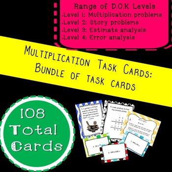 Multiplication Task Card Bundle: 4 Sets of Multiplication Task Cards