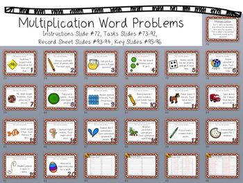Multiplication Task Card - Word Problems - Answer Sheet & Key