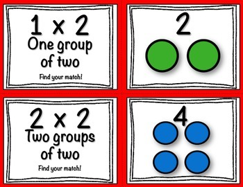Multiplication Task Cards (Match Game) 2's
