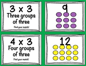 Multiplication Task Cards (Match Game) 3's