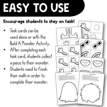 Multiplication Task Card Math Center & Monster Activity 3rd Grade