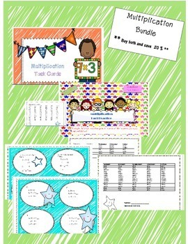 Multiplication Task Card and Multiplication Printables  BUNDLE