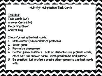 Multiplication Task Cards - 1 Digit x 1 Digit