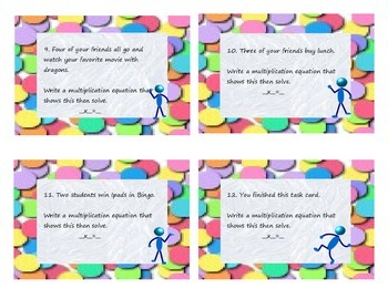 Multiplication Task Cards 1 and 2