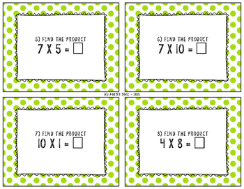 Multiplication Task Cards 1 and 2 Digit (Basic Facts)