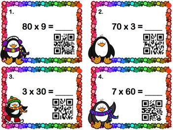 Multiplication Task Cards: 1-digit x Multiples of 10 (with and without QR Codes)