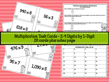 Multiplication Task Cards - Multiplying by 1-Digit Numbers