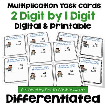 Multiplication Task Cards: 2 Digit by 1 Digit Multiplicati