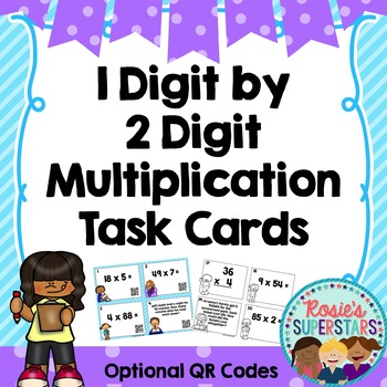 Multiplication Task Cards~ 2 Digit by 1 Digit Problems wit