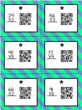 Multiplication Task Cards 2 Digit by 1 Digit with QR Codes