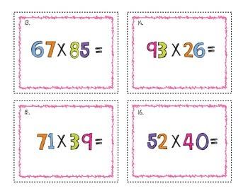 Multiplication Task Cards 2 Digit by 2 Digit